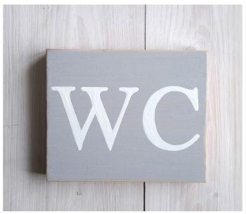 plaque de porte WC gris souris