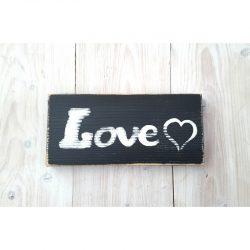 Tableau Love Cœur en noir et blanc